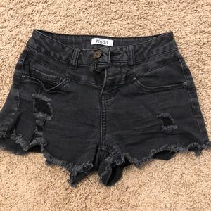 Black ripped denim short shorts